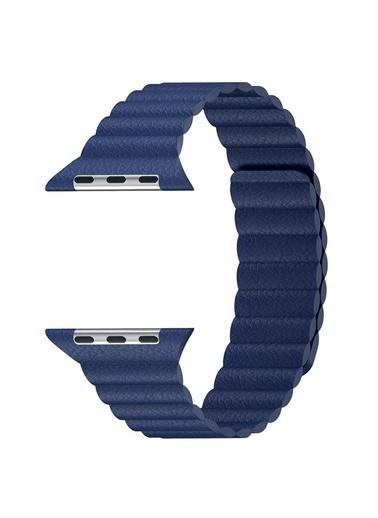 Microsonic Apple Watch SE 40mm Twist Leather Loop Kordon Lacivert
